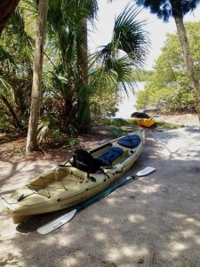 Campground with a kayak at the shoreline