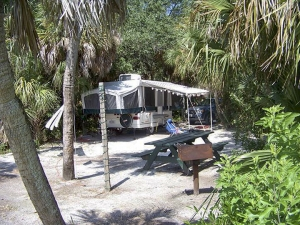Popup camper at the Fort De Soto Campground