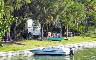View of a camp site and boat