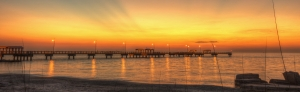 Sunset from the Fort over the Gulf Pier at Fort De Soto County Park ©Kathleen Finnerty